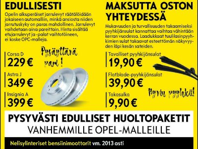 Pysyvästi edulliset huoltopaketit vanhemmille Opel-malleille